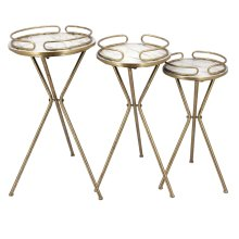 Ec, S/3 Round Gold Accent Tables: Marble Top-kd
