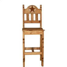 "30"" Wood Seat Marble Star Bar Stool"