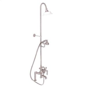 Tub Filler with Diverter Hand-Held Shower and Riser - Lever with Finials / Brushed Nickel Product Image
