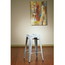 "Bristow 26"" Antique Metal Barstool, Antique White Finish, 4 Pack"