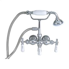 Clawfoot Tub Filler - Hand Held Shower, Old Style Spigot - Polished Chrome