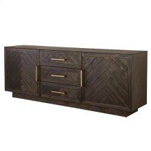 Wellington Herringbone Sideboard 3 Drawers + 2 Doors, Thames Dark Brown