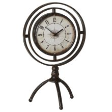 Round Desk Clock on Stand with Compass Face
