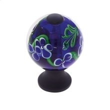 Oil Rubbed Bronze 30 mm Blue Knob w/Flowers