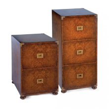 Campaign walnut filing cabinet with two drawers