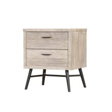 Emerald Home Nova 2 Drawer Nightstand Sterling Gray Finish With Black Metal Legs B700-04