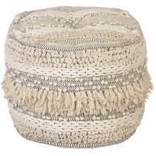 Hand Woven Bobble & Texture Striped Pouf