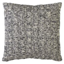 Dark Grey & White Marled Chunky Cable Knit Floor Pillow with Leather Handle