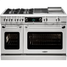 "48"" Range w/ 4 Open Burners @ 25K BTUs / hr + 12"" Broil Burner & Griddle"