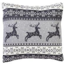 Grey & White Deer Fair Isle Knit Pillow.