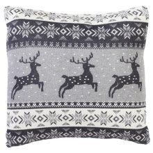 Grey & White Deer Fair Isle Knit Pillow.