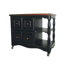 DCY-CRT-03-BCH  Regal Kitchen Cart  Antique Black with Cherry Accents