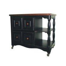 DCY-CRT-03-BCH  Regal Kitchen Cart  Antique Black with Cherry Accents