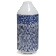 White and Blue Distress  20in x 8in Traditional Checkered Metal Vase