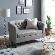 Prospect Upholstered Vinyl Loveseat in Gray