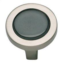Spa Black Round Knob 1 1/4 Inch - Brushed Nickel