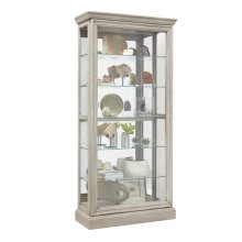 Lighted 5 Shelf Sliding Door Curio with Lock in Natural Beige