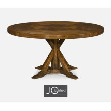 "60"" Country Walnut Round Dining Table with Inbuilt Lazy Susan"