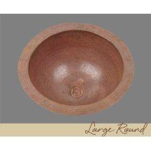 Solid Copper Large Round Lavatory - Light Hammertone - Dark