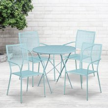 """Commercial Grade 30"""" Round Sky Blue Indoor-Outdoor Steel Folding Patio Table Set with 4 Square Back Chairs"""