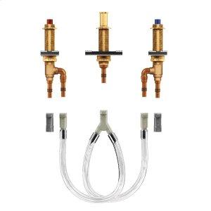 "two handle roman tub valve 10"" - 24"" center 1/2"" crimp ring pex cpvc connection Product Image"