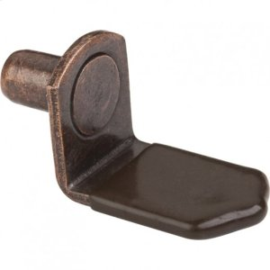 """Antique Copper 1/4"""" Pin Angled Shelf Support with 3/4"""" Arm and Brown Plastic Sleeve Product Image"""