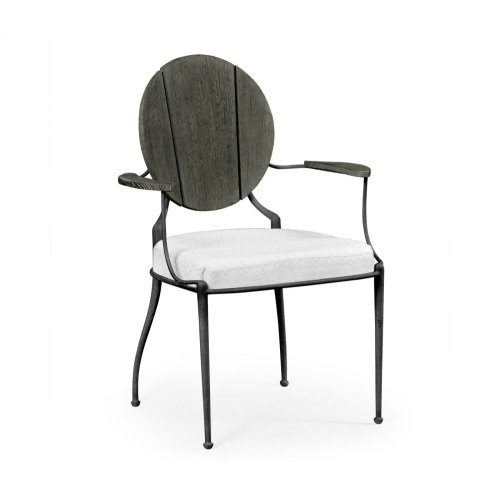 Outdoor Grey Weather Dining Armchair, Upholstered in COM