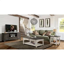Grand Haven - Square Side Table - Feathered White/rich Charcoal Finish