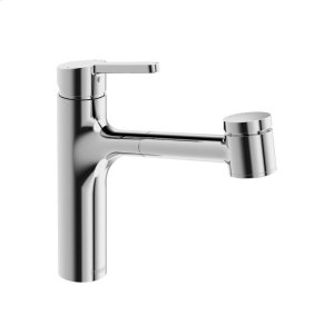 Edge single-lever kitchen faucet with swivel spout; pull-out spray, chrome Product Image