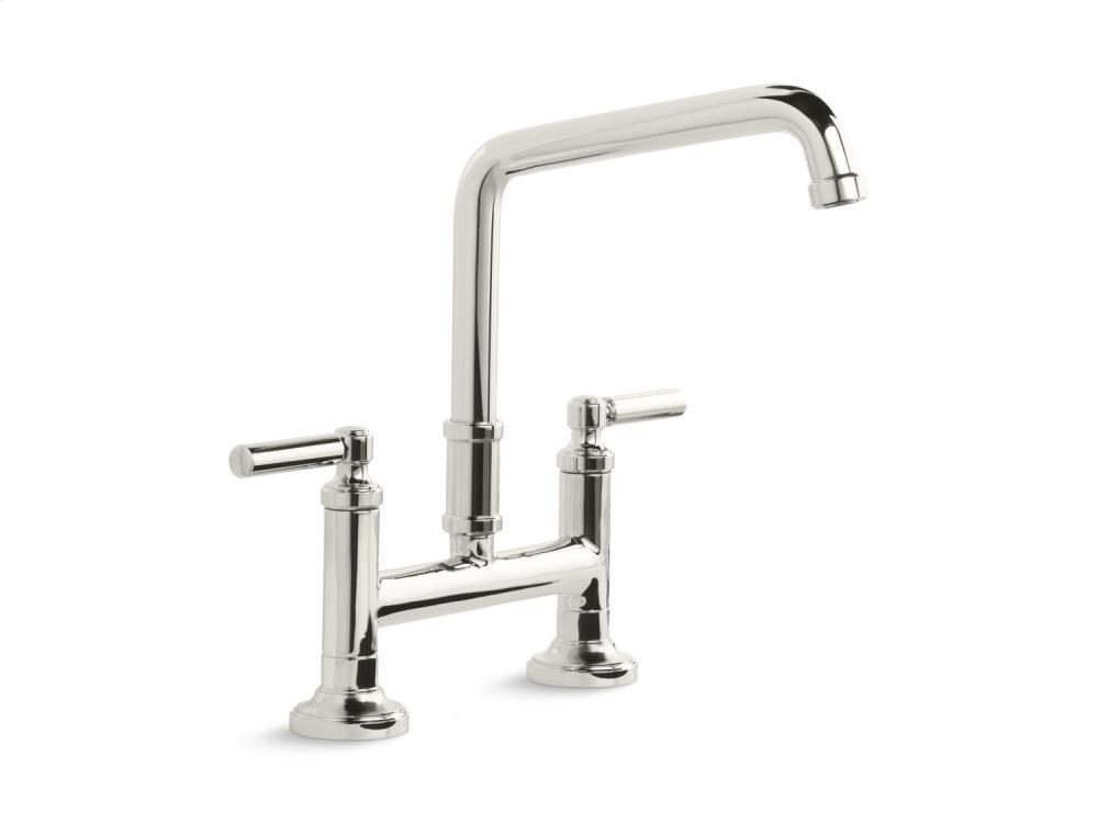 Deck-Mount Bridge Faucet, Lever Handles - Nickel Silver