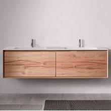 "45° FULL series 1800 vanity, White Matte frame/Vintage Oak front; 71"" w x 19"" h x 20"" d"
