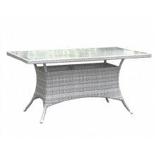 "Santorini 36"" x 60"" Rectangular Dining Table KD w/whitewash tempered glass"