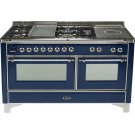 Midnight Blue with Chrome trim - Majestic 60-inch Range with Griddle + French Cooktop Product Image