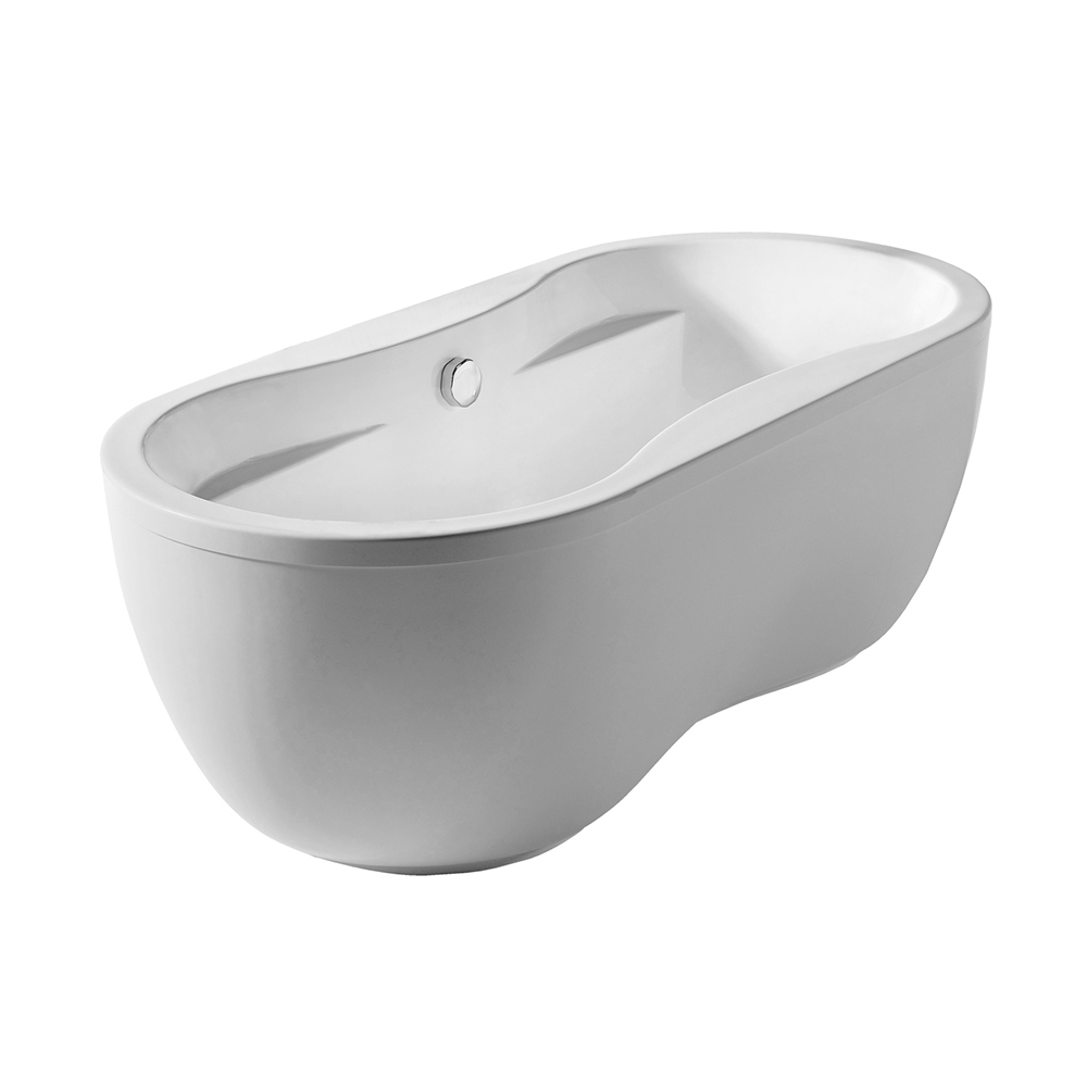 Bathhaus oval double-ended dual armrest freestanding bathtub made of Lucite® acrylic with a chrome mechanical pop-up waste and a chrome center drain with internal overflow.