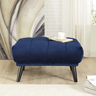 Bestow Performance Velvet Ottoman in Navy