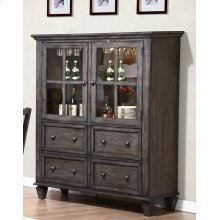 DLU-EL-DS  One Piece China Cabinet  Gray