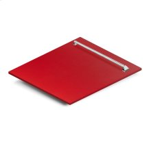 "24"" Dishwasher Panel in Red Matte with Traditional Handle (DP-RM-24)"