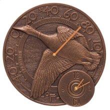"Mallard Duck 14"" Indoor Outdoor Wall Clock & Thermometer - Antique Copper"