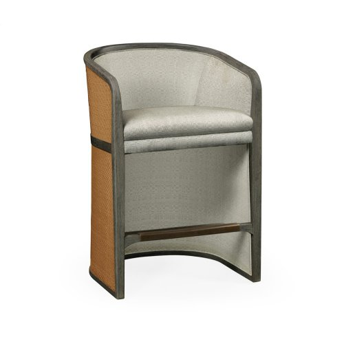 Grey & Tan Rattan Tub Counter Stool, Upholstered in Standard Outdoor Fabric