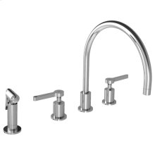 Lever 4-hole kitchen mixer with pull-out hand spray