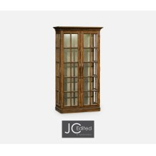 Plank Country Walnut Fully Glazed Bookcase with Strap Handles