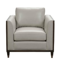 Addison Leather Accent Chair with Wooden Base in Frost Grey