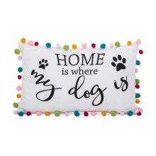 Dog Pom Pom Pillow - 12 x 20
