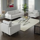 Empress Sofa and Armchairs Set of 3 in White Product Image