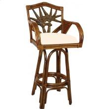 "Havana Palm Indoor Swivel Rattan & Wicker 30"" Bar Stool with cushions"