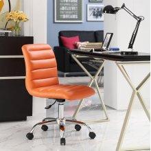 Ripple Armless Mid Back Vinyl Office Chair in Orange