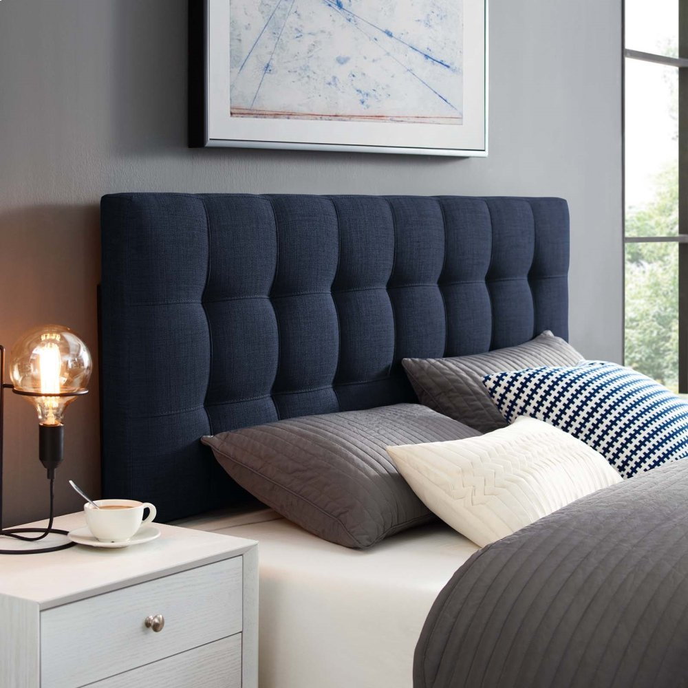 Lily Queen Upholstered Fabric Headboard in Navy