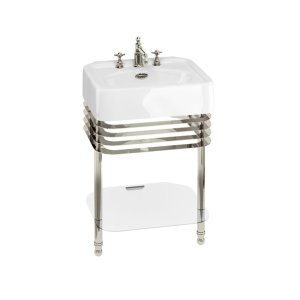 "Arcade 24"" Console Set with Metal Base - 1 Faucet Hole, Polished Chrome"