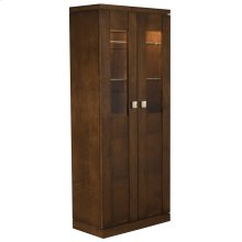 Simple and Masterfully Constructed From the Highest Grade Materials, This Armoire Provides A Stylish Storage Option for the Dining or Living Room, Featuring Two Glass Adjustable Shelves Above, One Fixed Wooden Shelf In the Center, and Two Adjustable Wood Shelves Below, as Well as Adjustable Dimmer-controlled Lighting.