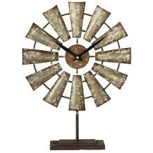 Distressed Galvanized Windmill Desk Clock